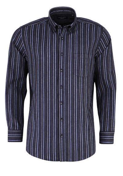 CASAMODA Comfort Fit Hemd Langarm Button Down Kragen Streifen grau - Hemden Meister