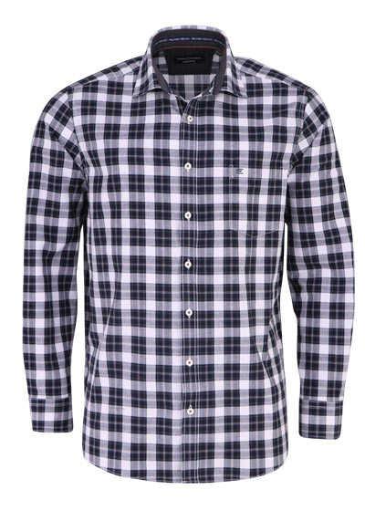 CASAMODA Comfort Fit Hemd Langarm New Kent Kragen Karo schwarz - Hemden Meister