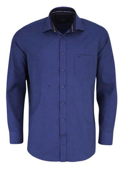CASAMODA Comfort Fit Hemd Langarm New Kent Kragen Muster blau - Hemden Meister