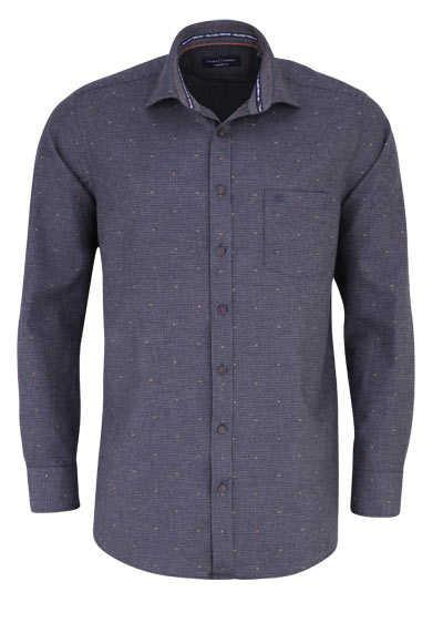 CASAMODA Comfort Fit Hemd Langarm New Kent Kragen Muster grau - Hemden Meister