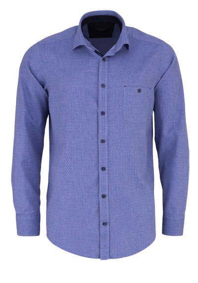 CASAMODA Casual Fit Hemd Langarm New Kent Kragen Muster blau - Hemden Meister
