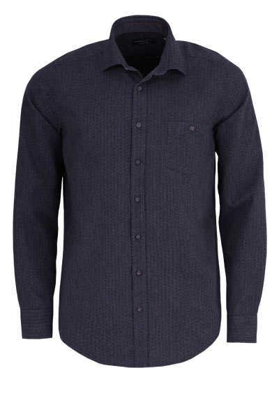 CASAMODA Casual Fit Hemd Langarm New Kent Kragen Muster grau - Hemden Meister