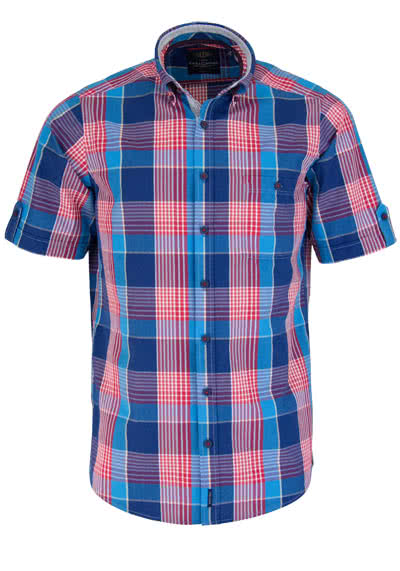 CASAMODA Casual Fit Hemd Halbarm Button Down Kragen Karo blau