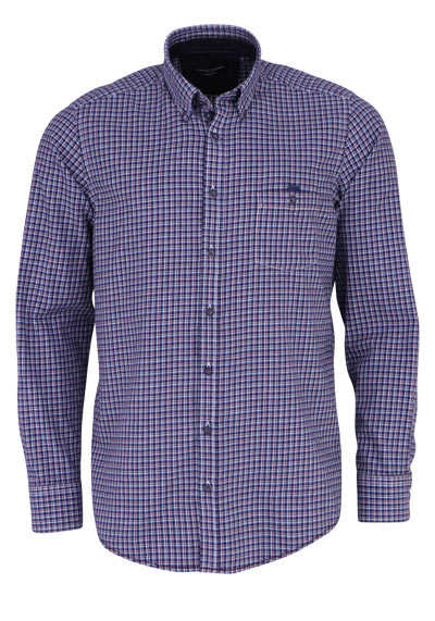 CASAMODA Casual Fit Hemd Langarm Button Down Kragen Karo blau