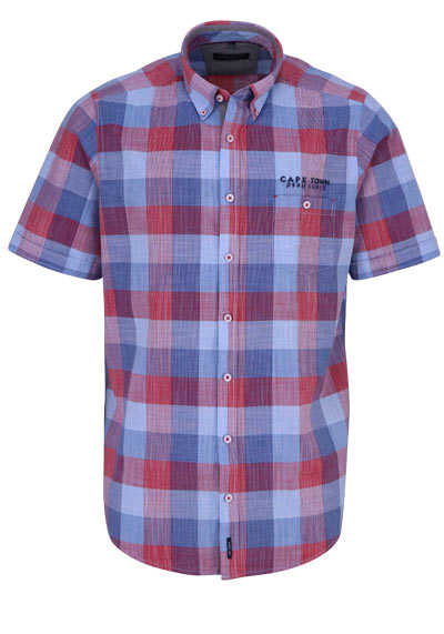 CASAMODA Casual Fit Hemd Langarm Button Down Kragen Karo rot