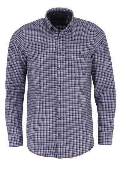 CASAMODA Casual Fit Hemd Langarm Button Down Kragen Karo schwarz
