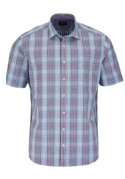 ... CASAMODA Comfort Fit Hemd Halbarm mit Besatz Karo blau preisreduziert