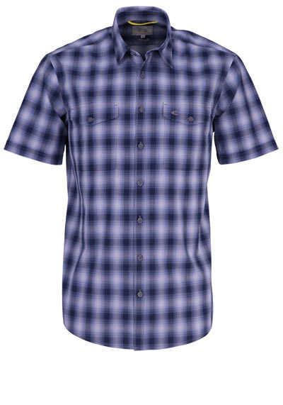 CAMEL ACTIVE Regular Fit Hemd Halbarm New Kent Kragen Karo dunkelblau - Hemden Meister