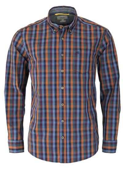 CAMEL ACTIVE Regular Fit Hemd Langarm Karo blau/cognac/weinrot - Hemden Meister