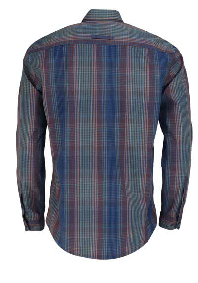 CAMEL ACTIVE Regular Fit Hemd Langarm Button Down Kragen Karo blau