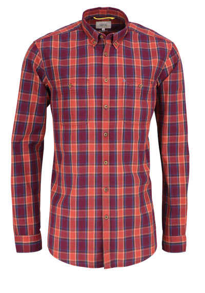 CAMEL ACTIVE Regular Fit Hemd Langarm Button Down Kragen Karo rot - Hemden Meister