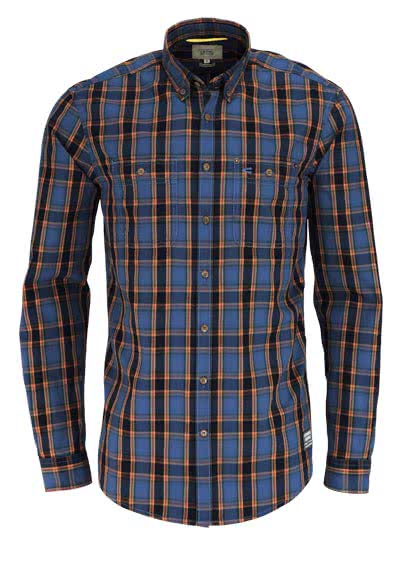 CAMEL ACTIVE Regular Fit Hemd Langarm Button Down Kragen Karo blau - Hemden Meister
