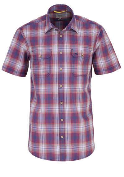 CAMEL ACTIVE Hemd Regular Fit Halbarm New Kent Kragen Karo rot - Hemden Meister