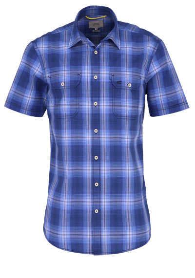 CAMEL ACTIVE Hemd Regular Fit Halbarm New Kent Kragen Karo blau - Hemden Meister
