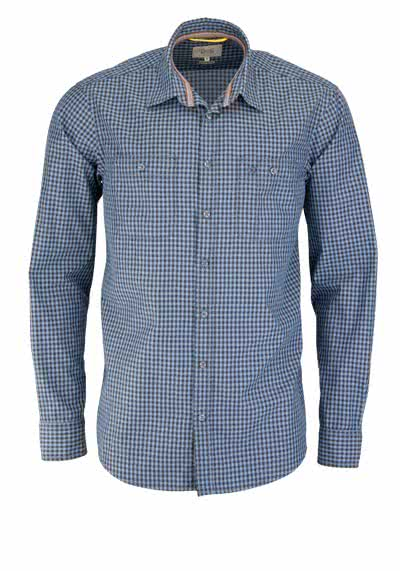 CAMEL ACTIVE Regular Fit Hemd Langarm New Kent Kragen Karo blau - Hemden Meister