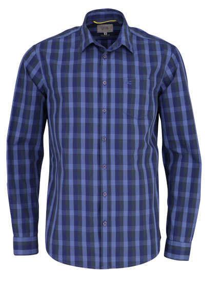 CAMEL ACTIVE Regular Fit Hemd Langarm New Kent Kragen Karo dunkelblau - Hemden Meister