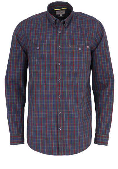 CAMEL ACTIVE Regular Fit Hemd Button Down Kragen Karo dunkelgrün - Hemden Meister
