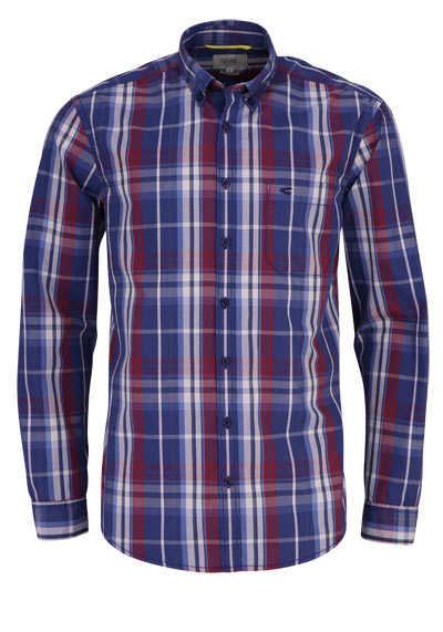CAMEL ACTIVE Regular Fit Hemd Langarm Button Down Kragen Karo blau - Hemden Meister