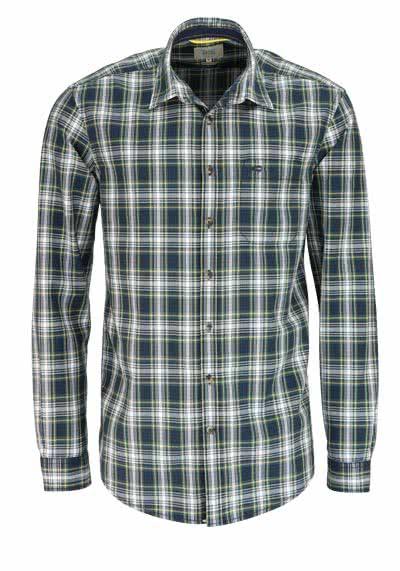 CAMEL ACTIVE Regular Fit Hemd Langarm New Kent Kragen Karo grün - Hemden Meister