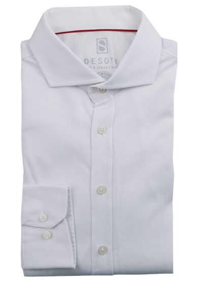 DESOTO Slim Fit Hemd Langarm Haifischkragen Baumwolle Jersey Stretch weiß