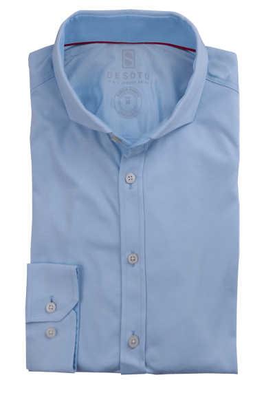 DESOTO Slim Fit Hemd Langarm Haifischkragen Baumwolle Jersey Stretch hellblau