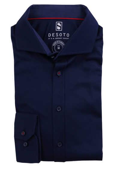 DESOTO Slim Fit Hemd Langarm Haifischkragen Baumwolle Jersey Stretch blau