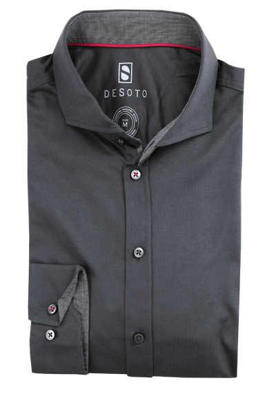 DESOTO Slim Fit Hemd Langarm Haifischkragen Baumwolle Jersey Stretch grau