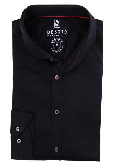 DESOTO Slim Fit Hemd Langarm Haifischkragen Baumwolle Jersey Stretch schwarz