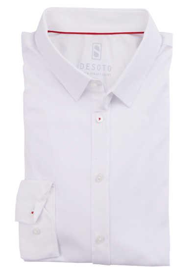 DESOTO Slim Fit Hemd Langarm New Kent Kragen Baumwolle Jersey Stretch weiß