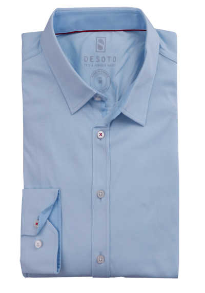 DESOTO Slim Fit Hemd Langarm New Kent Kragen Baumwolle Jersey Stretch hellblau