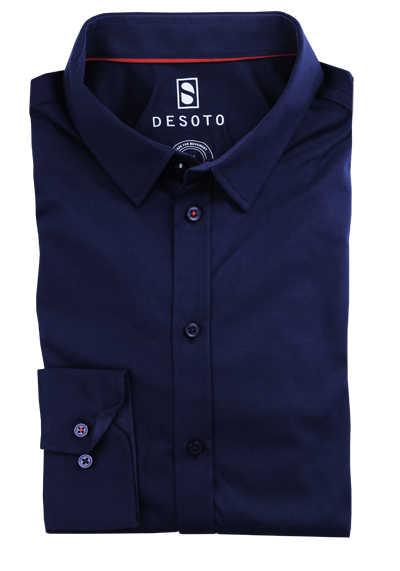 DESOTO Slim Fit Hemd Langarm New Kent Kragen Baumwolle Jersey Stretch blau