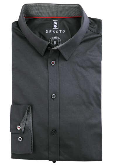 DESOTO Slim Fit Hemd Langarm New Kent Kragen Baumwolle Jersey Stretch grau