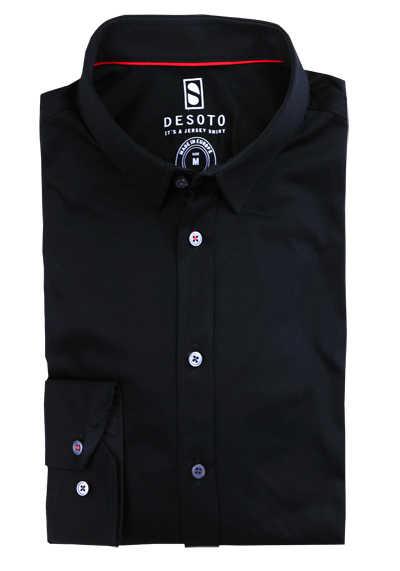 DESOTO Slim Fit Hemd Langarm New Kent Kragen Baumwolle Jersey Stretch schwarz