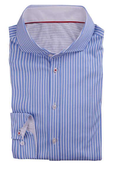 DESOTO Slim Fit Hemd Langarm Haifischkragen Baumwolle Jersey Streifen hellblau