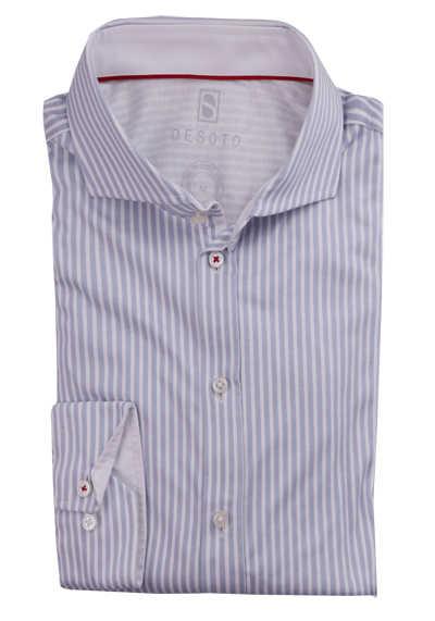 DESOTO Slim Fit Hemd Langarm Haifischkragen Baumwolle Jersey Streifen grau