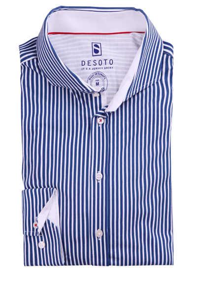DESOTO Slim Fit Hemd Langarm Haifischkragen Baumwolle Jersey Streifen dunkelblau