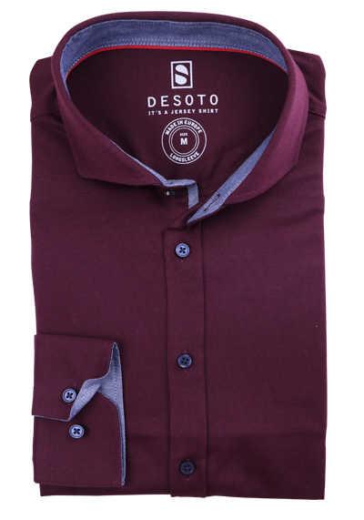 DESOTO Slim Fit Hemd Langarm Haifischkragen Baumwolle Jersey Struktur rot