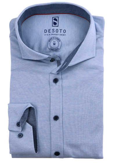 DESOTO Slim Fit Hemd Langarm Haifischkragen Baumwolle Jersey Struktur hellblau