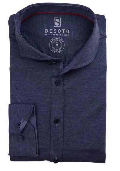 DESOTO Slim Fit Hemd Langarm Haifischkragen Baumwolle Jersey Struktur dunkelblau