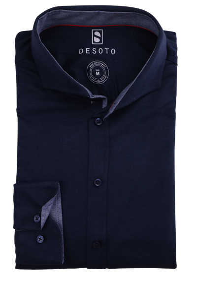 DESOTO Slim Fit Hemd Langarm Haifischkragen Baumwolle Jersey Struktur nachtblau
