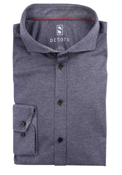 DESOTO Slim Fit Hemd Langarm Haifischkragen Baumwolle Jersey Struktur grau