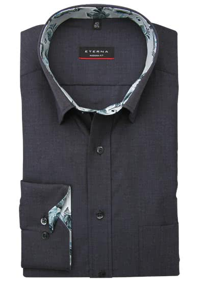 ETERNA Modern Fit Hemd Langarm Under Button Down Kragen anthrazit preisreduziert