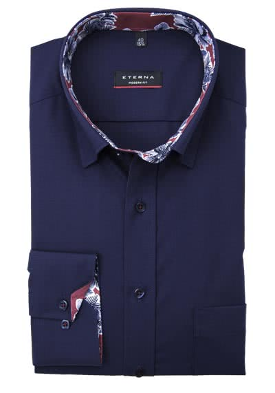 ETERNA Modern Fit Hemd extra Langarm Under Button Down Kragen navy preisreduziert