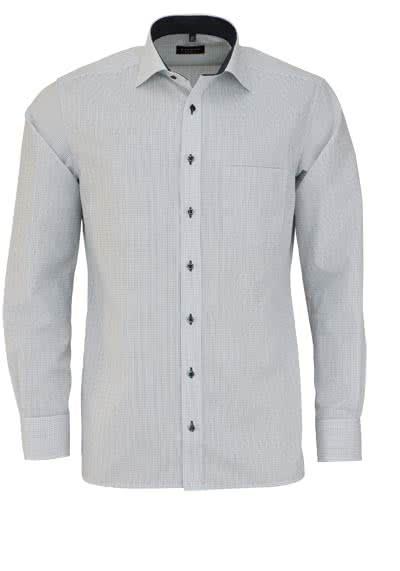 ETERNA Modern Fit Hemd extra langer Arm New Kent Kragen Karo schwarz - Hemden Meister