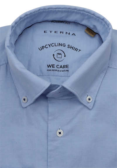 ETERNA Modern Fit Langarm Upcycling Button Down Kragen hellblau