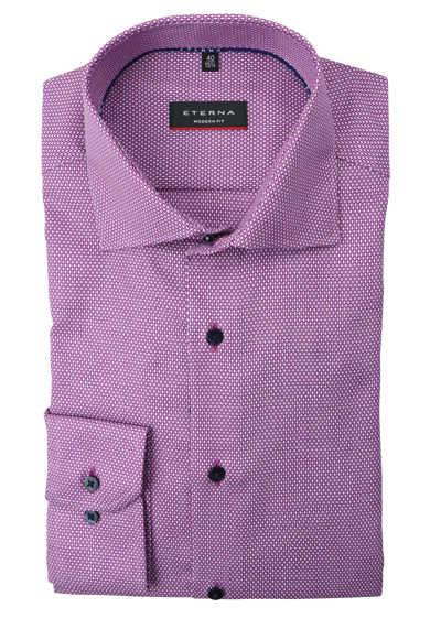 ETERNA Modern Fit Hemd extra langer Arm Haifischkragen Muster lila
