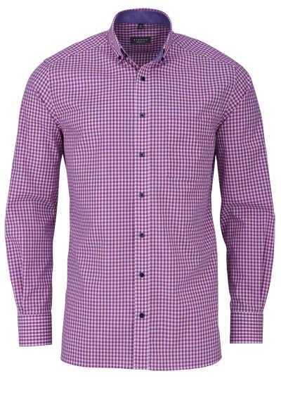 ETERNA Comfort Fit Hemd extra langer Arm Button Down Kragen Karo rot - Hemden Meister