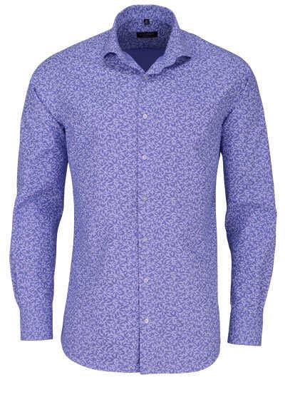 ETERNA Modern Fit Hemd extra langer Arm Haifischkragen Muster blau - Hemden Meister