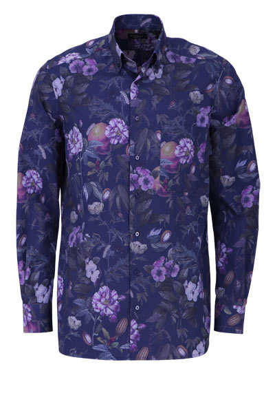 ETERNA Comfort Fit Hemd Langarm Button Down Kragen Muster dunkelblau - Hemden Meister