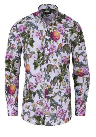 ETERNA Modern Fit Hemd Langarm Button Down Kragen Muster weiß - Hemden Meister